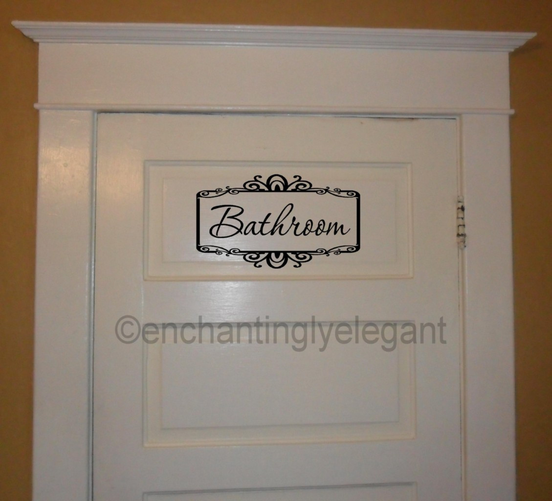 Best ideas about Words On Bathroom Walls . Save or Pin Bathroom w Scroll Border Vinyl Decal Wall Sticker Words Now.