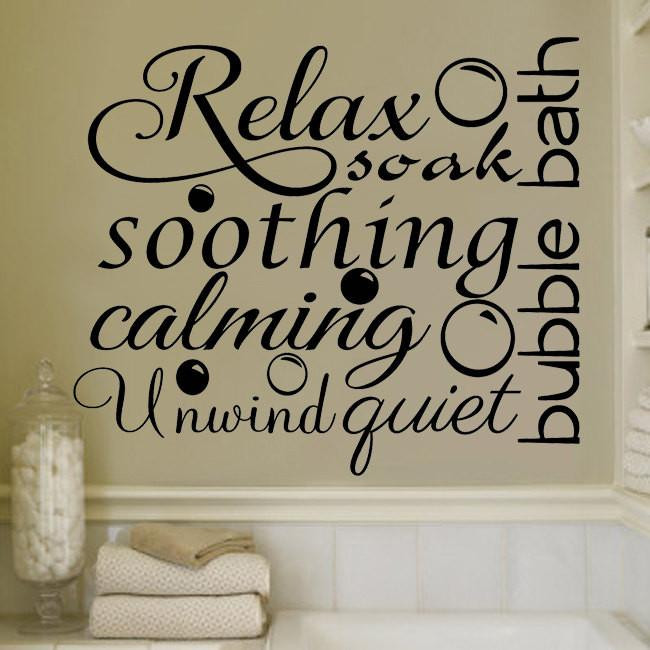 Best ideas about Words On Bathroom Walls . Save or Pin Relax Soothing Words Collage for the Bathroom Decor Vinyl Now.