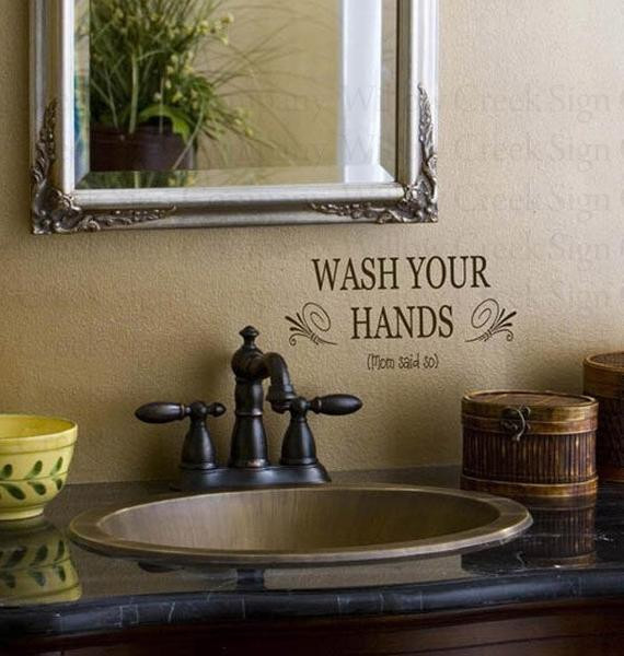 Best ideas about Words On Bathroom Walls . Save or Pin Bathroom Vinyl wall lettering words quotes art by Now.