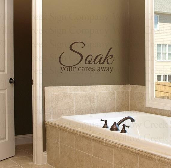 Best ideas about Words On Bathroom Walls . Save or Pin Soak Bathroom Vinyl Wall Lettering Words Art by Now.