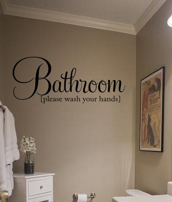 Best ideas about Words On Bathroom Walls . Save or Pin Bathroom Vinyl Words Vinyl Lettering Wall Words Decal Now.
