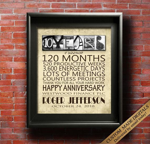 Work Anniversary Gift Ideas  Work Anniversary Gift 10 Year 15 Year 20 Year 25 Year 30 Year
