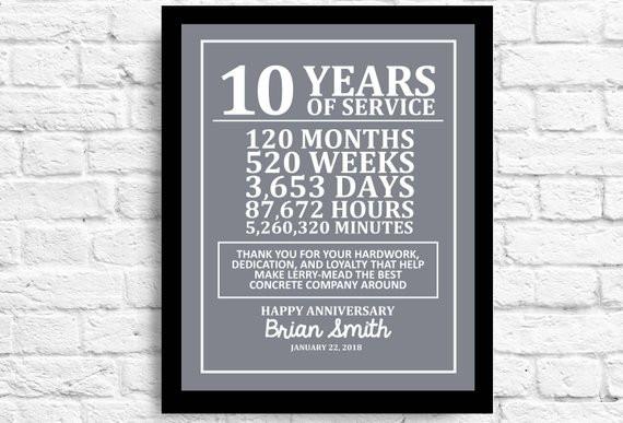Work Anniversary Gift Ideas  Customizable 10 Year Employee Gift Years of Employment Work
