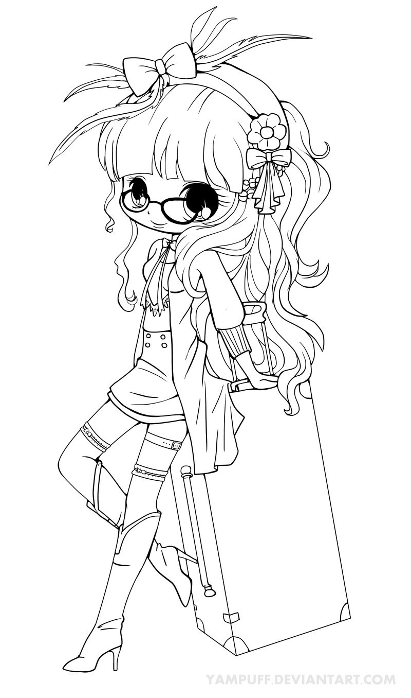 Yampuff Coloring Pages  Suitcase Girl Lineart by YamPuff on DeviantArt
