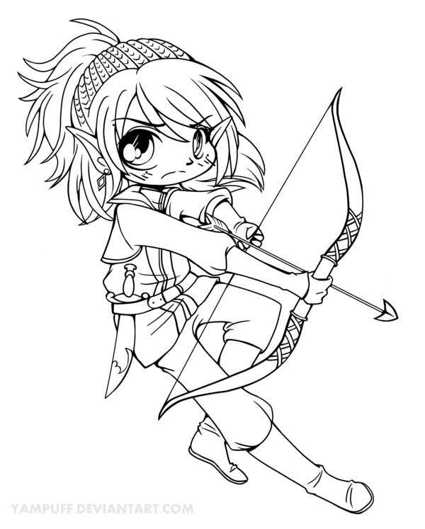 Yampuff Coloring Pages  Estel Chibi Lineart by YamPuff on DeviantArt