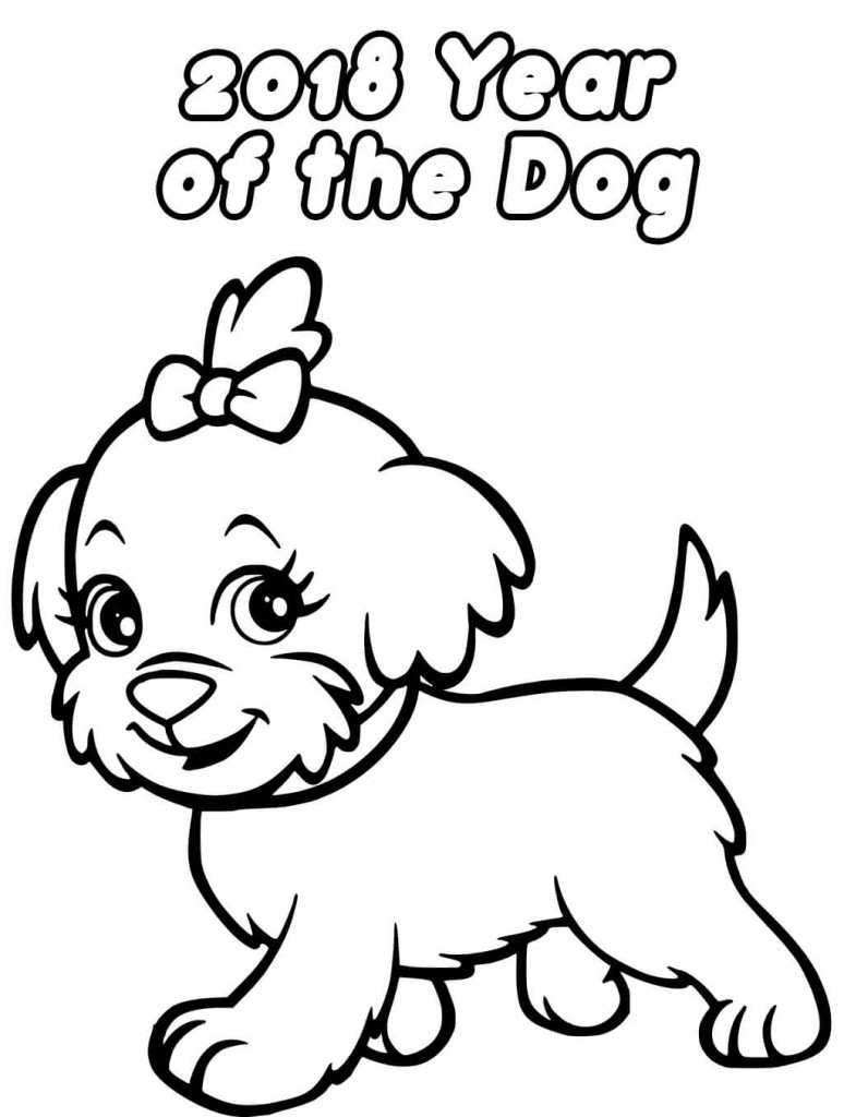 Year Of The Dog Coloring Pages  Printable New Year 2018 Coloring Pages