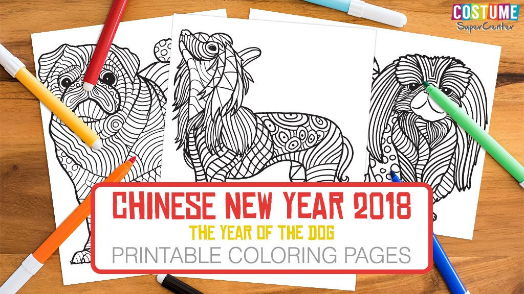 Year Of The Dog Coloring Pages  Year of the Dog Chinese New Year Coloring Pages