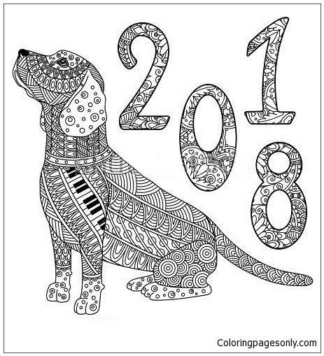 Year Of The Dog Coloring Pages  New Year The Dog Coloring Page Free Coloring Pages line
