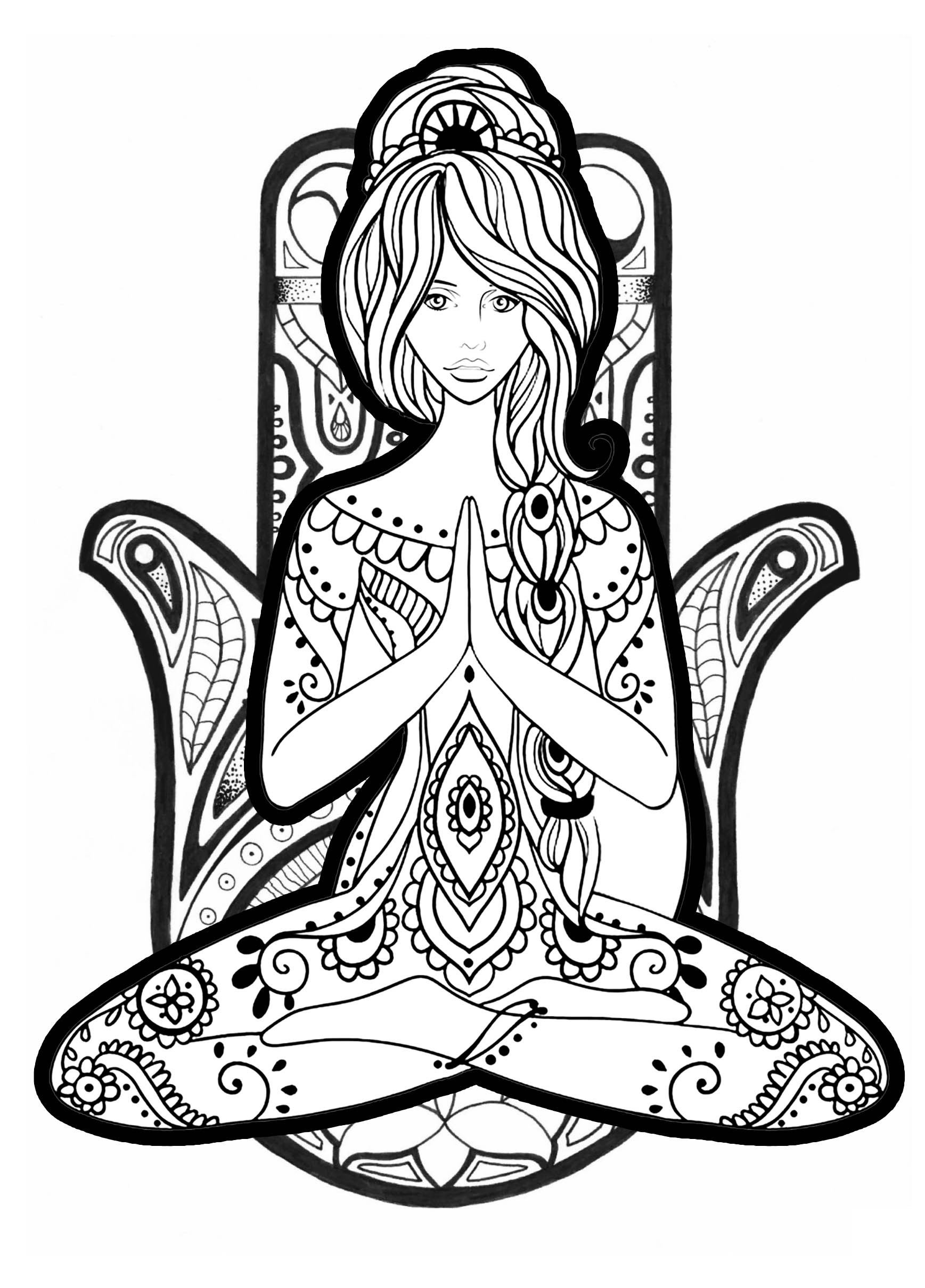 Yoga Coloring Pages  Yoga 2 Anti stress Adult Coloring Pages