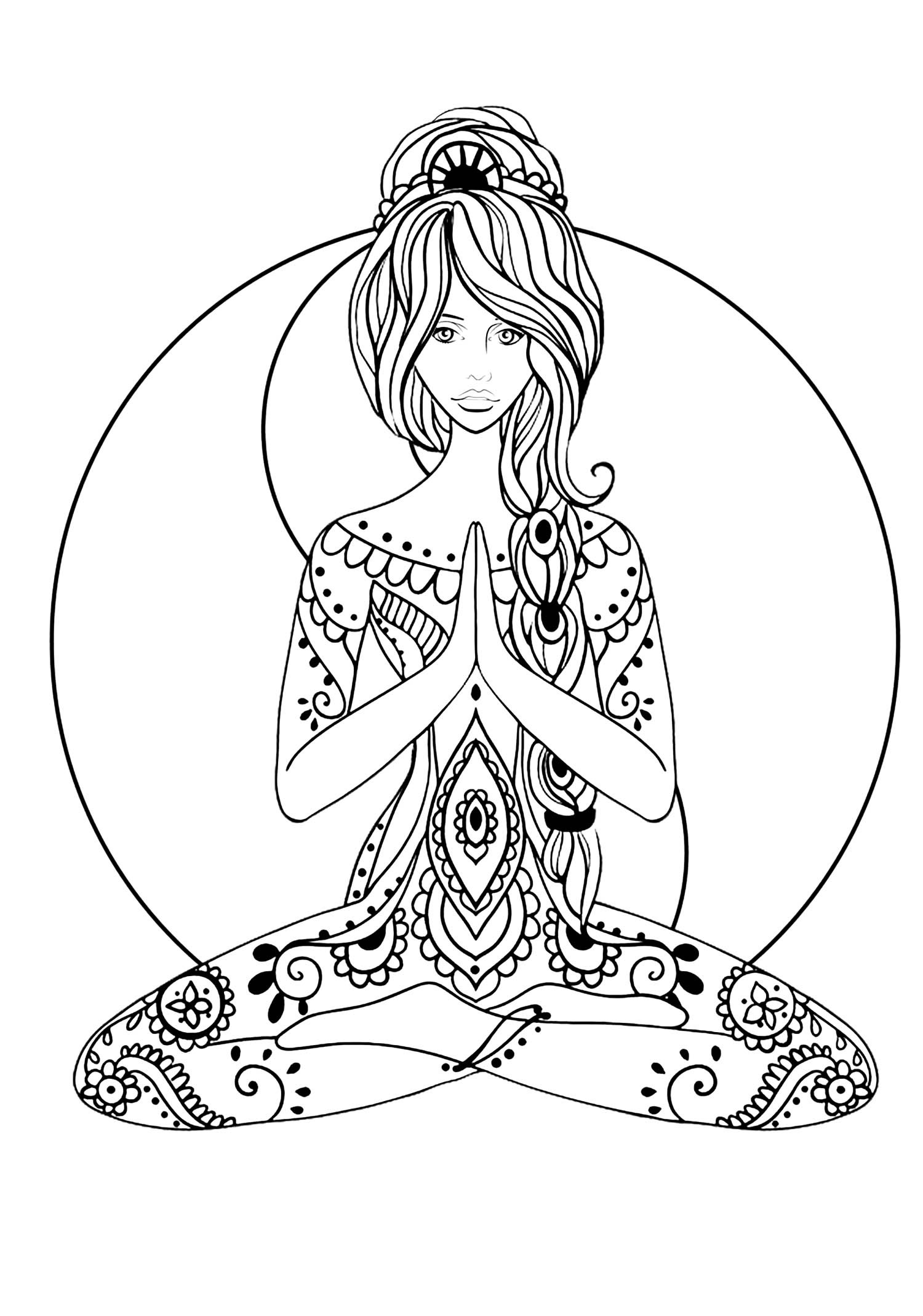 Yoga Coloring Pages  Yoga Anti stress Adult Coloring Pages