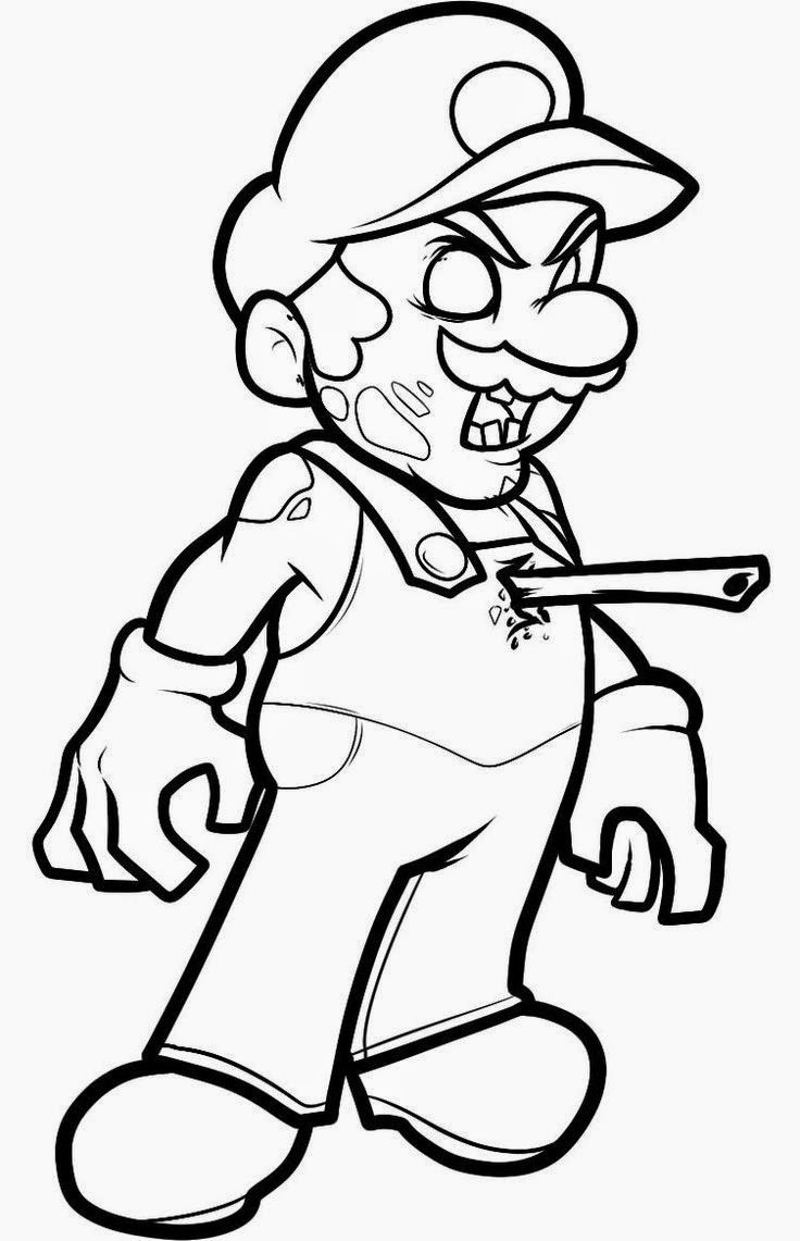 Zombie Coloring Pages For Kids  Mario Zombie Halloween Coloring Pages