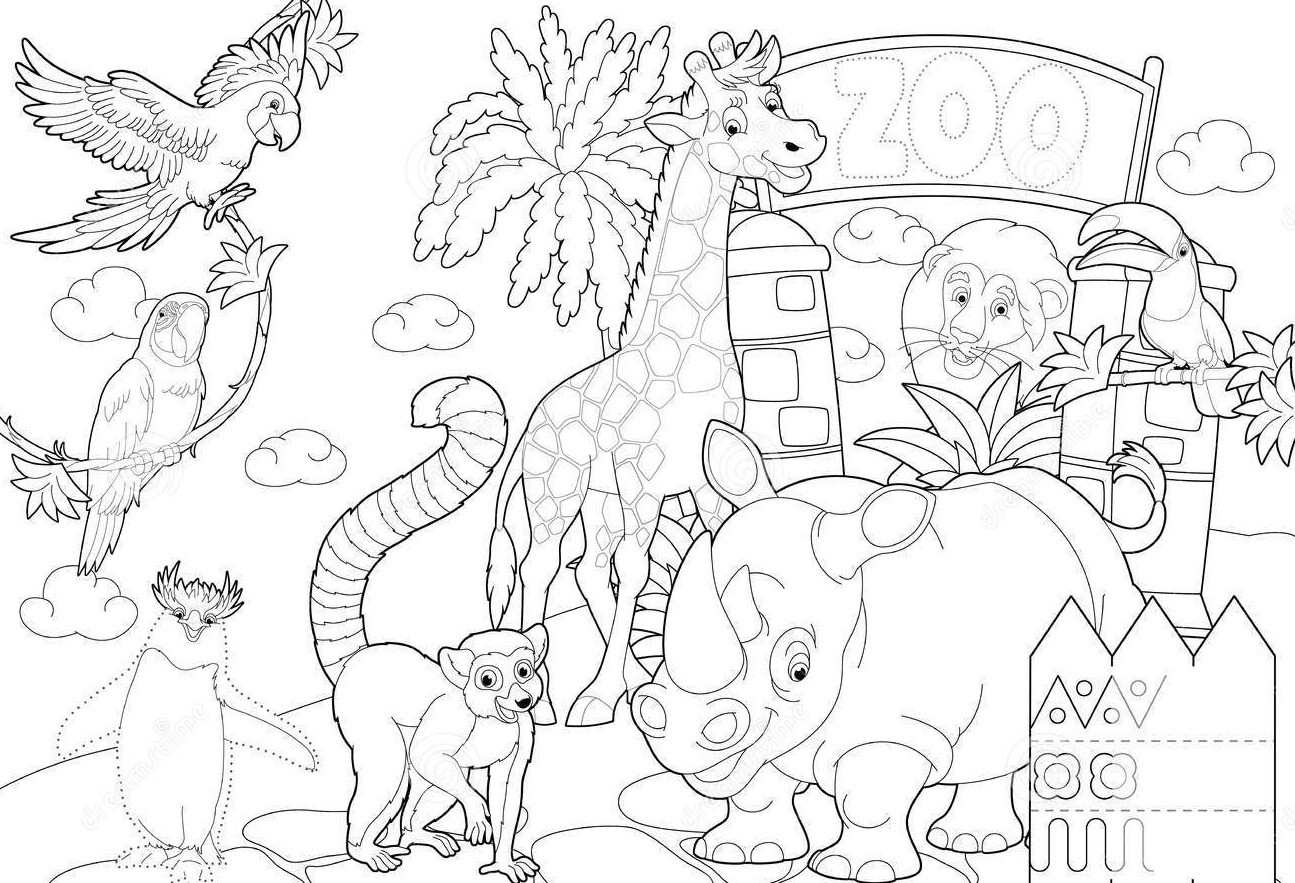 Zoo Animals Coloring Pages  Zoo Entrance Coloring Page grig3