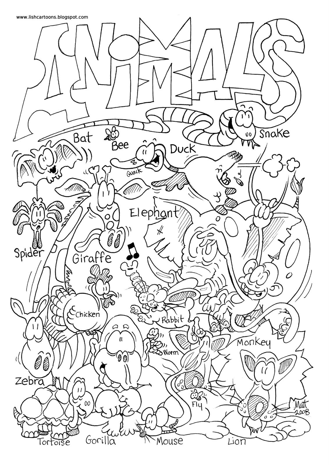 Zoo Animals Coloring Pages  Zoo Animal Coloring Pages 2 Animal To Color