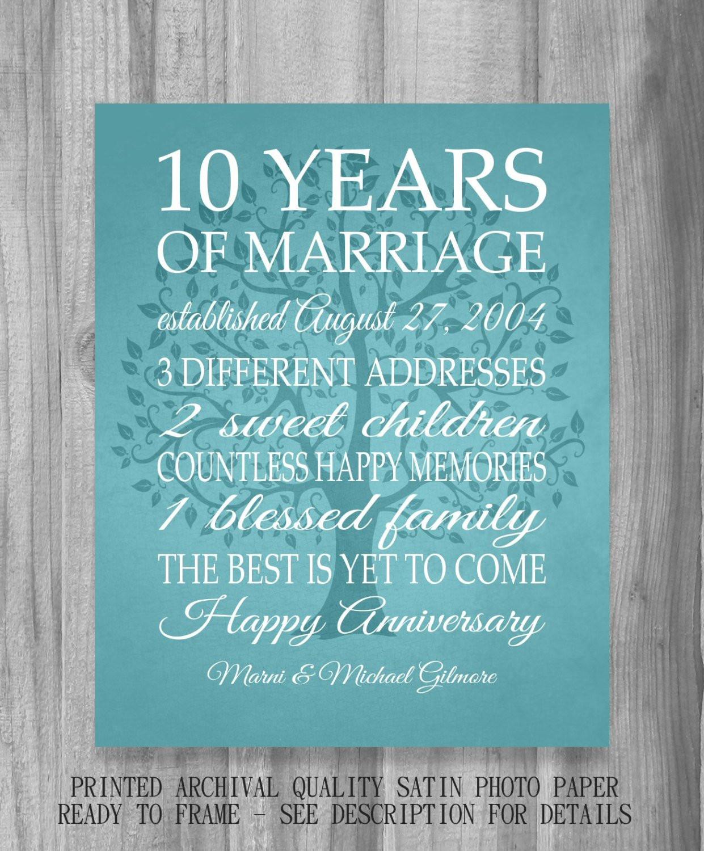 Best ideas about 10 Year Wedding Anniversary Gift Ideas For Her . Save or Pin 10 Year Anniversary Gift Print Wedding Anniversary Now.