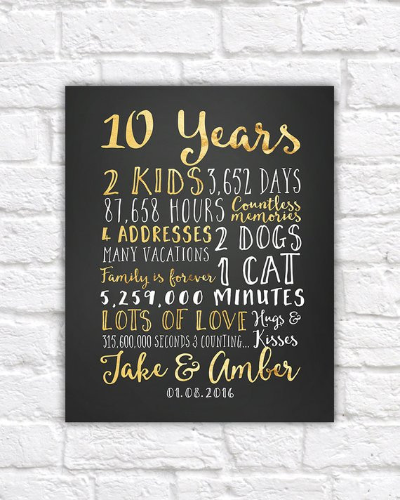 Best ideas about 10 Year Wedding Anniversary Gift Ideas For Her . Save or Pin Wedding Anniversary Gifts for Him Paper Canvas 10 Year Now.