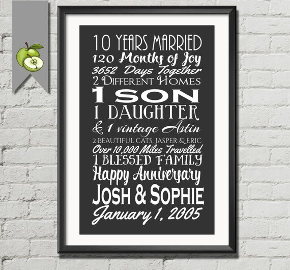 Best ideas about 10 Year Wedding Anniversary Gift Ideas For Her . Save or Pin 10th anniversary t tenth anniversary t wife husband Now.