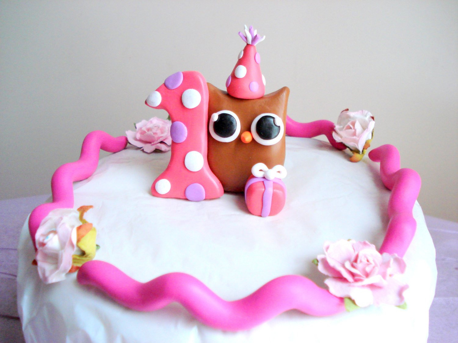 Best ideas about 1st Birthday Cake Topper . Save or Pin Girls First Birthday Owl Birthday Cake Topper Pink 1st Now.