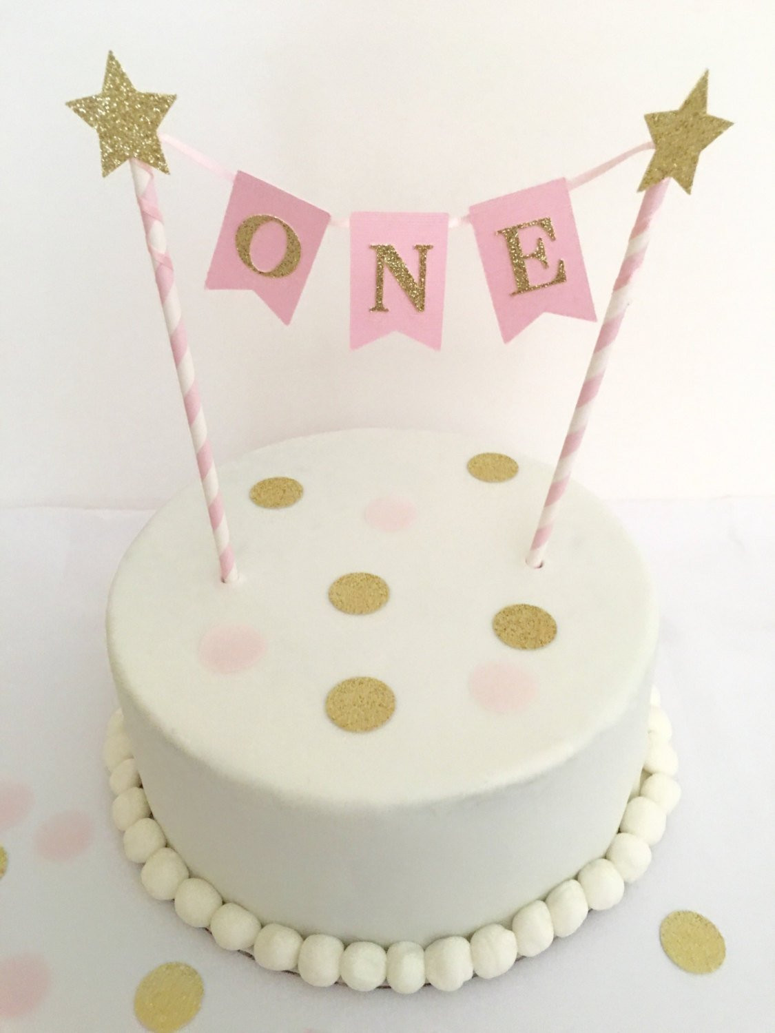 Best ideas about 1st Birthday Cake Topper . Save or Pin 1st Birthday Cake Topper Pink and Gold by SweetEscapesbyDebbie Now.