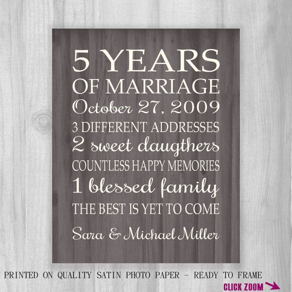 Best ideas about 20 Year Anniversary Gift Ideas . Save or Pin 5th Anniversary Gift Print FAUX Wood 5 Years 10 15 20 Now.