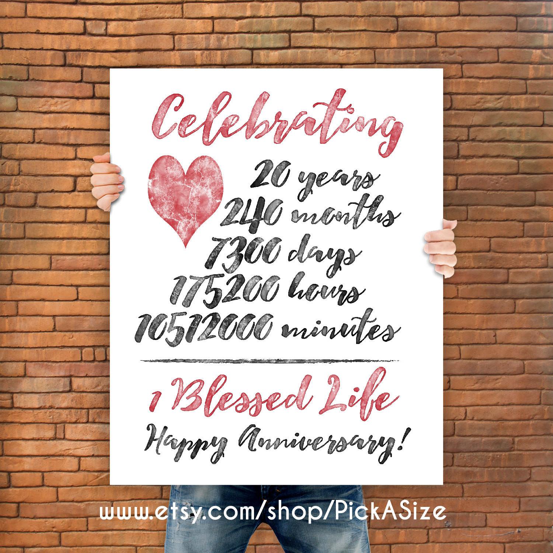 Best ideas about 20 Year Anniversary Gift Ideas . Save or Pin 20th anniversary 20 Year Anniversary Gift Print Wedding Now.