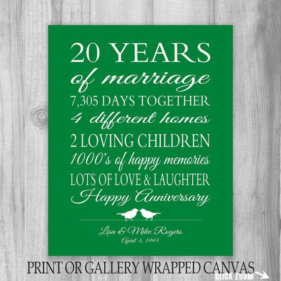 Best ideas about 20 Year Anniversary Gift Ideas . Save or Pin 20th Anniversary Gift 20 Year Anniversary Gift Canvas Now.