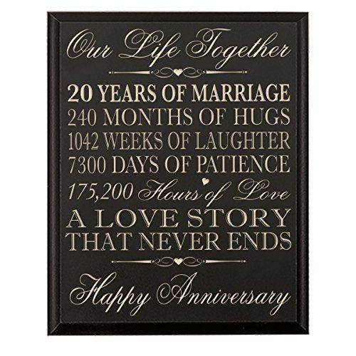 Best ideas about 20Th Wedding Anniversary Gift Ideas For Her . Save or Pin 20th Wedding Anniversary Wall Plaque Gifts for Couple Now.