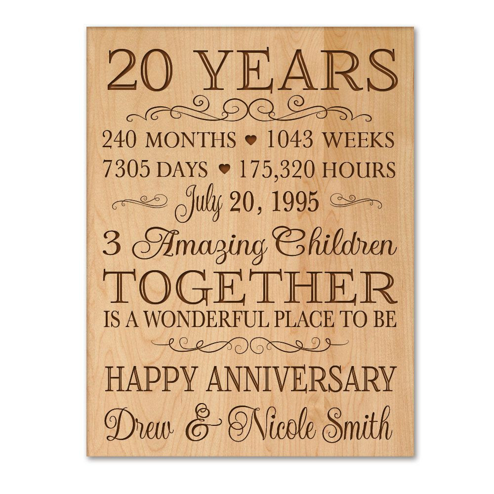 Best ideas about 20Th Wedding Anniversary Gift Ideas For Her . Save or Pin Personalized 20th anniversary t for him 20 year wedding Now.