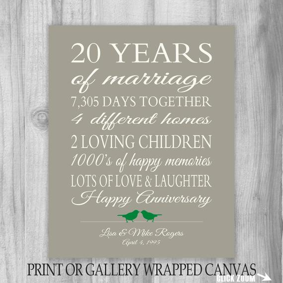 Best ideas about 20Th Wedding Anniversary Gift Ideas For Her . Save or Pin 20 Year Anniversary Gift 20th Anniversary Art Print Now.
