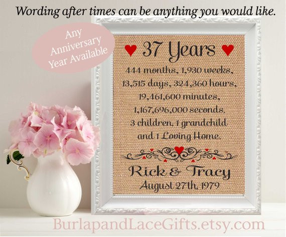 Best ideas about 23Rd Wedding Anniversary Gift Ideas Husband . Save or Pin 37 37th Anniversary 37 Years To her Years Months Weeks Now.