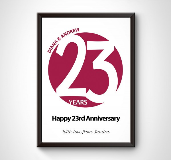 "Best ideas about 23Rd Wedding Anniversary Gift Ideas Husband . Save or Pin Personalised ""Circle"" 23rd Wedding Anniversary Print Now."