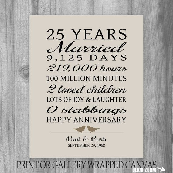 Best ideas about 25Th Anniversary Gift Ideas For Parents . Save or Pin 25 Year Anniversary Gift 25th Anniversary Art Print Now.