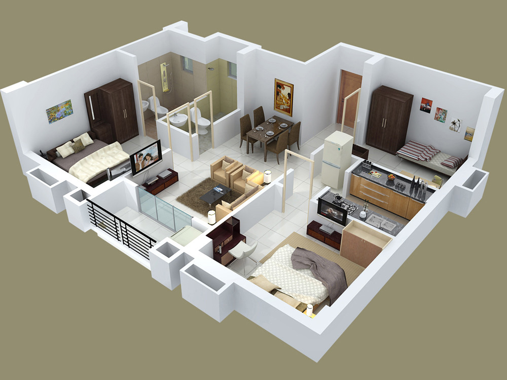Best ideas about 3 Bedroom House . Save or Pin 25 Three Bedroom House Apartment Floor Plans Now.