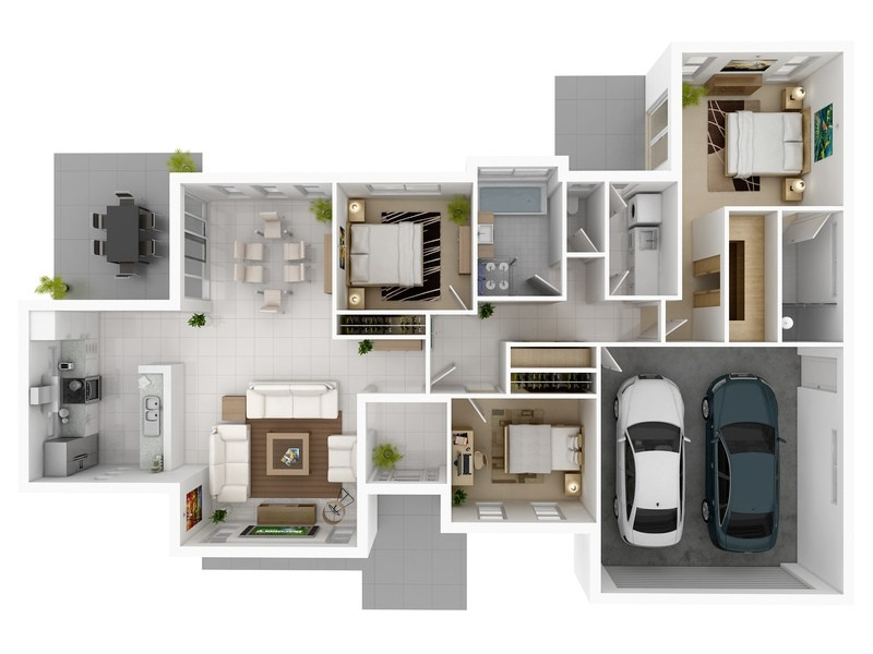 Best ideas about 3 Bedroom House . Save or Pin 3 Bedroom Apartment House Plans Now.