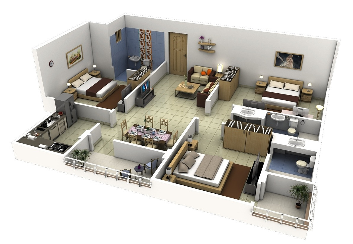 "Best ideas about 3 Bedroom House . Save or Pin 50 Three ""3"" Bedroom Apartment House Plans Now."