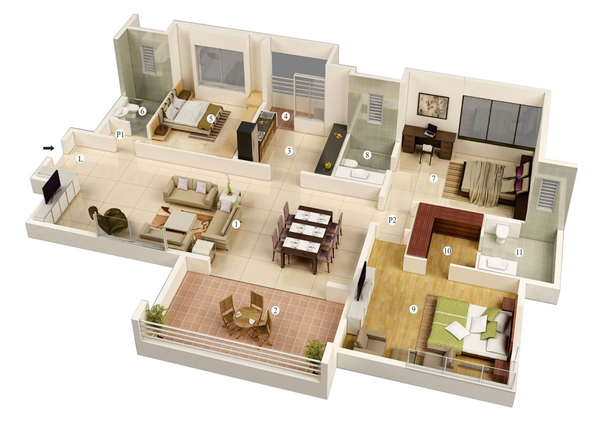 Best ideas about 3 Bedroom House . Save or Pin 25 More 3 Bedroom 3D Floor Plans Now.