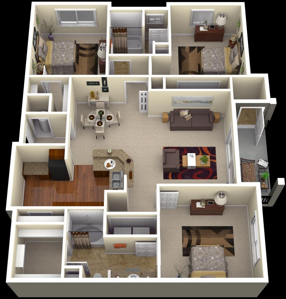 Best ideas about 3 Bedroom House . Save or Pin 3 Bedroom Apartment House Plans Futura Home Decorating Now.