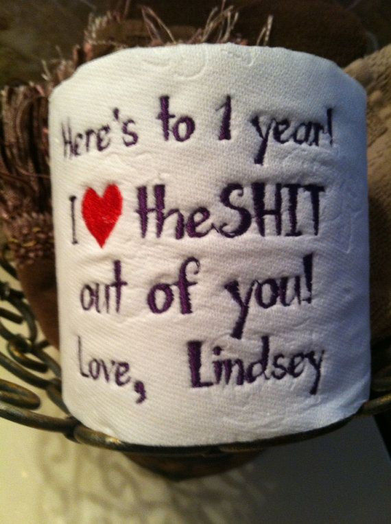 Best ideas about 3 Year Wedding Anniversary Gift Ideas For Him . Save or Pin Custom Embroidered Toilet Paper for 1st Paper by Now.