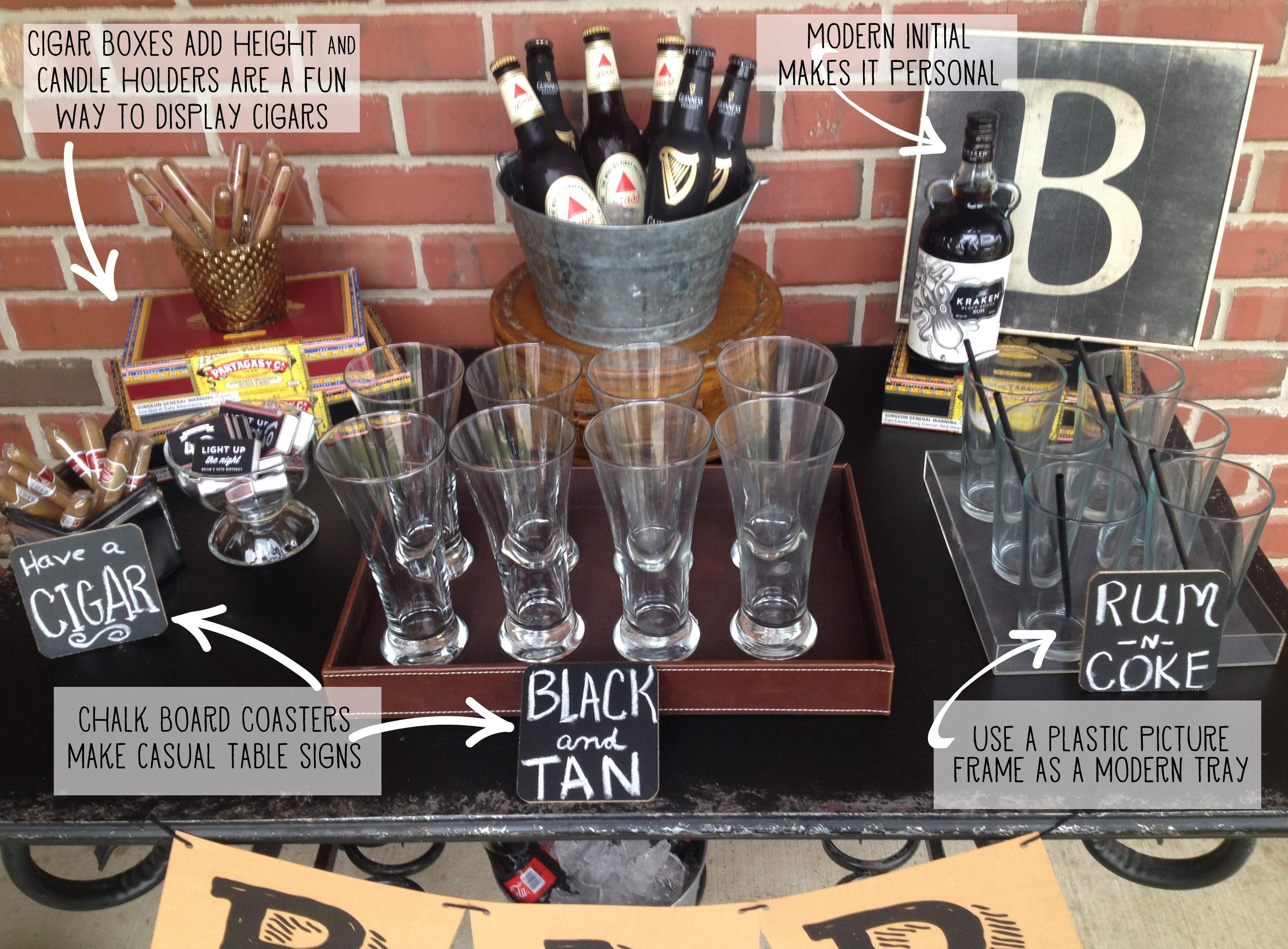 Best ideas about 40Th Birthday Gift Ideas For Men . Save or Pin Masculine Bar Display 40th birthday party … Now.