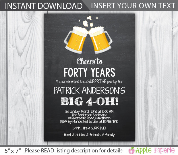 Best ideas about 40th Birthday Invitations . Save or Pin 40th birthday invitations for him 40th Birthday Now.