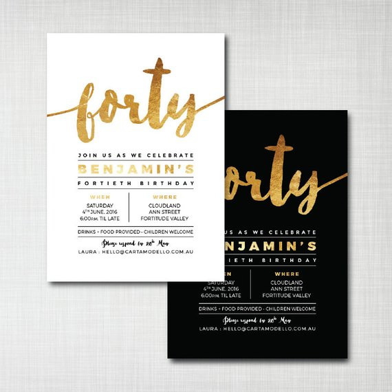Best ideas about 40th Birthday Invitations . Save or Pin Items similar to 40th birthday invitation modern gold foil Now.