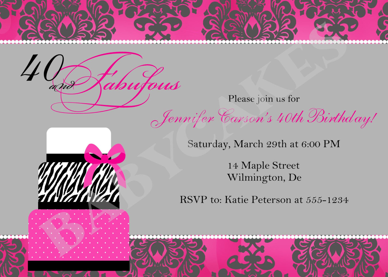 Best ideas about 40th Birthday Invitations . Save or Pin 40th Birthday Invitation Wording Template Now.