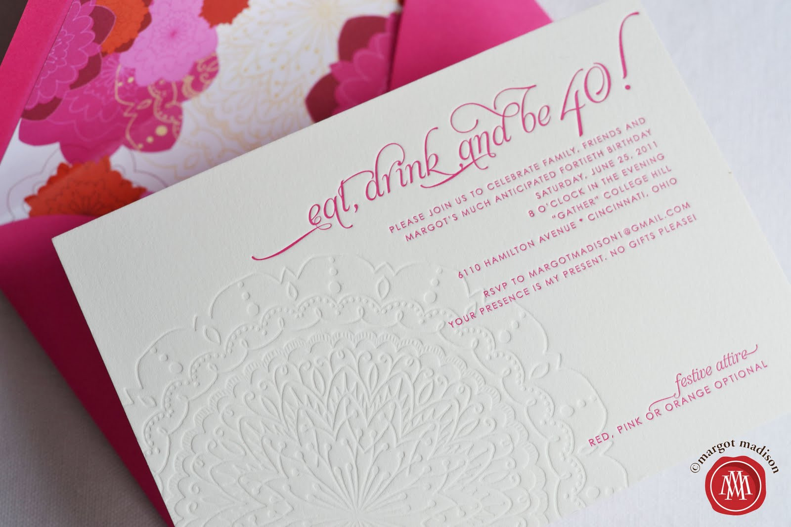 Best ideas about 40th Birthday Invitations . Save or Pin MargotMadison My 40th Birthday Party The Untold Story Now.