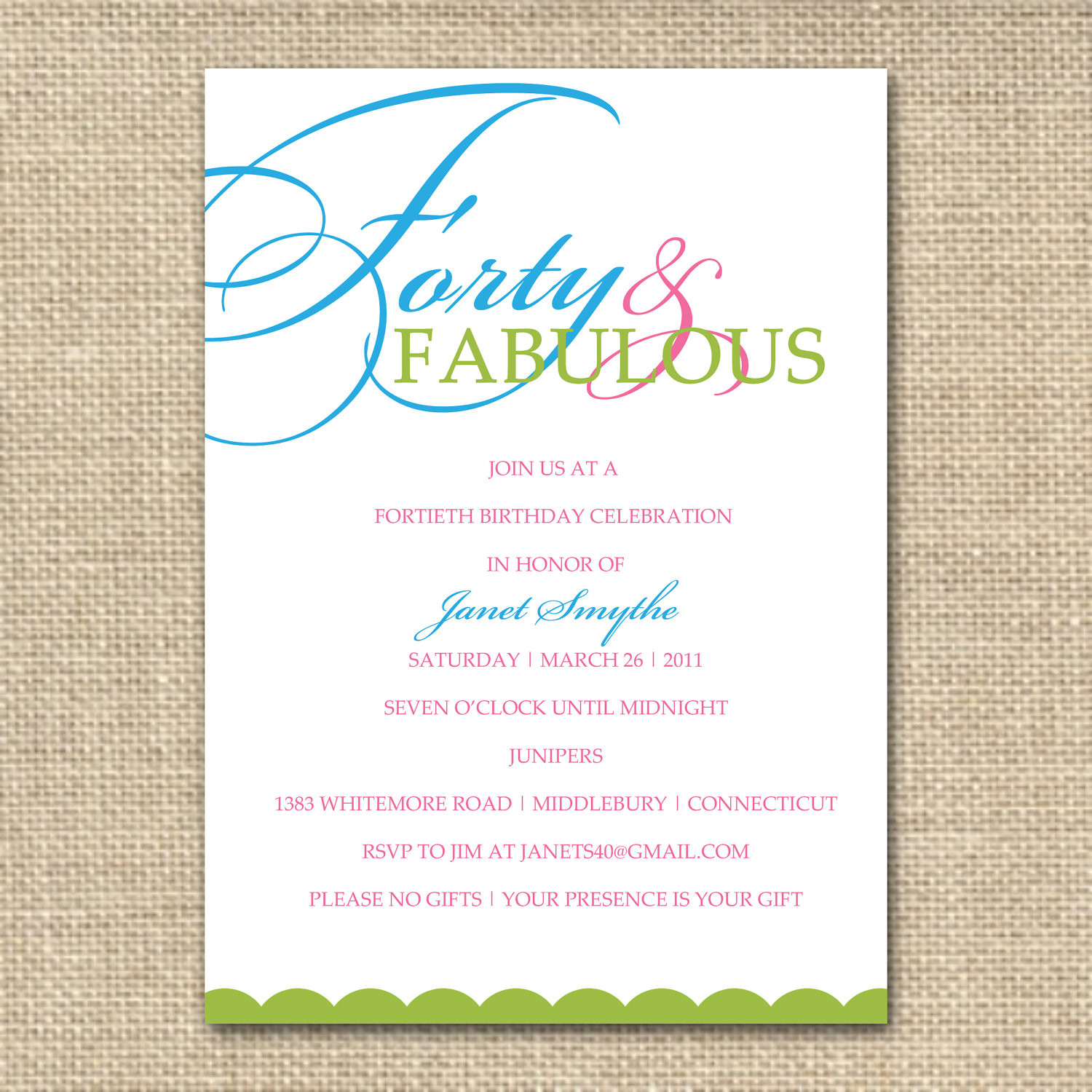 Best ideas about 40th Birthday Invitations . Save or Pin 10 Birthday Invite Wording Decision – Free Wording Now.