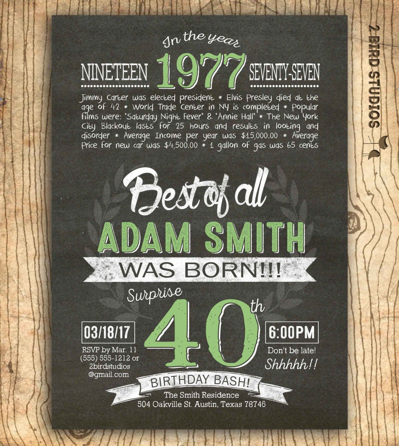 Best ideas about 40th Birthday Invitations . Save or Pin 40th birthday invitation Surprise 40th birthday invite Now.