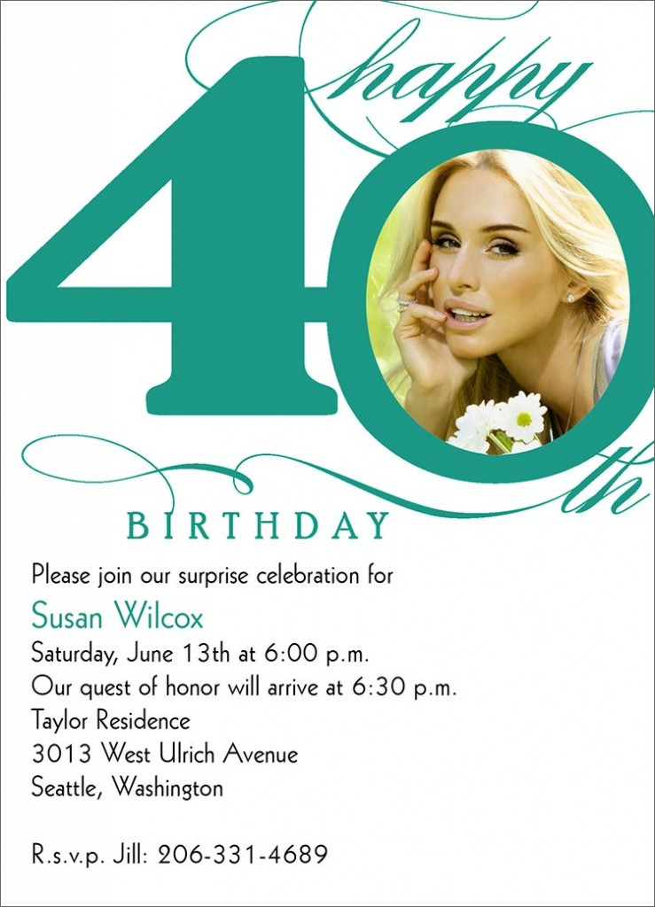 Best ideas about 40th Birthday Invitations . Save or Pin 40th Birthday Invitation Wording – Bagvania FREE Printable Now.