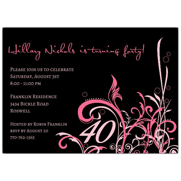 Best ideas about 40th Birthday Invitations . Save or Pin Cabiri Pink 40th Birthday Invitations Now.