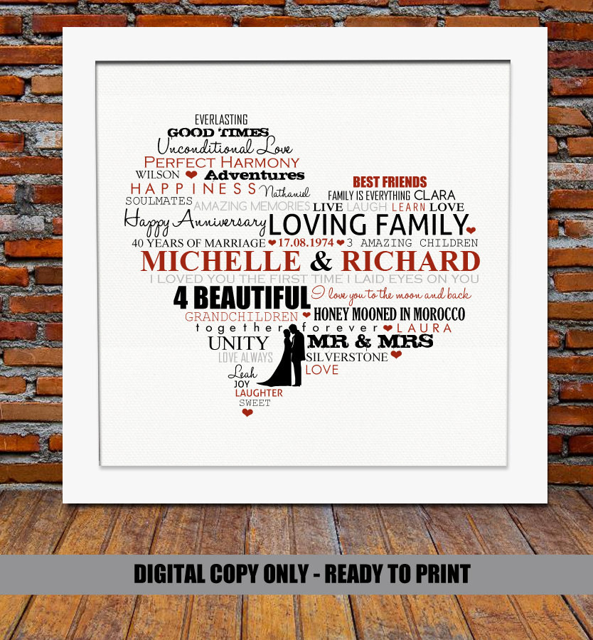Best ideas about 40Th Wedding Anniversary Gift Ideas For Parents . Save or Pin 40th Wedding Anniversary Gifts For Parents Ideas Now.