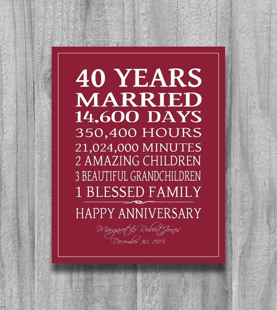Best ideas about 40Th Wedding Anniversary Gift Ideas For Parents . Save or Pin 25 Best Ideas about Ruby Wedding Anniversary Gifts on Now.