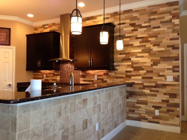 Best ideas about Accent Wall In Kitchen . Save or Pin Kitchen Remodel Wood Accent Wall Contemporary Kitchen Now.