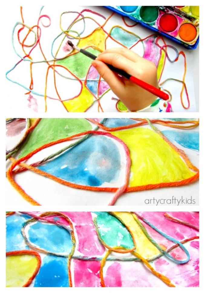 Best ideas about Art Ideas For Preschoolers . Save or Pin Watercolour Yarn Kids Process Art Arty Crafty Kids Now.